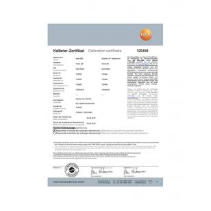 ISO kalibračný certifikát pre termokameru - selektívny